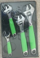 SNAP ON 4 PIECE SOFT GRIP FLANK DRIVE PLUS ADJUSTABLE WRENCHES GREEN SET NEW