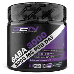 GABA-3000 320 Kapseln (vegan) á 750 mg -  Muskelaufbau - Regeneration - Schlaf
