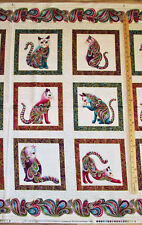 "Cat Catitide Artist-o-Cats Metallic Ivory Fabric by the 23"" Panel #4200M"