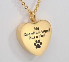 Pet Ashes Holder Heart Urn Necklace, Gold over Stainless Steel | For Dog or Cat