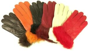 Ladies Womens New Super Soft Genuine Leather Fully Line Faux Fur Cuff Detail