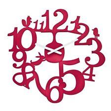 "Koziol PIP WALL CLOCK Modern Pi:P - SOLID RED Large 18"" 45cm"