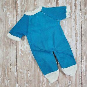 "Vintage Baby Doll Footie Pajamas Romper Blue 60s Era Back Zipper Fits 9"" to 12"""