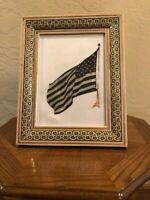 Vintage Middle Eastern Persian Khatam Frame W/Handmade Copper USA FLAG
