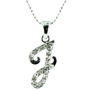 Clear Crystal on Silver Plated Fancy Italic Initial Necklace MORE INITIALS