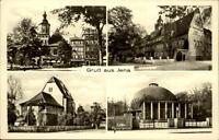 Jena Thüringen DDR Mehrbild Grußkarte 1953 Marktplatz Rathaus Planetarium Kirche
