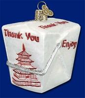 CHINESE TAKE-OUT OLD WORLD CHRISTMAS GLASS FOOD BOX ORNAMENT W/ PAGODA NWT 32111