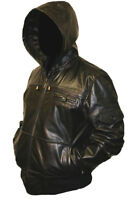 Mens HOODED Real Leather Bomber Jacket Coat Hoody Hoodie Hood Black or Brown