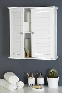 New Bathroom Door White Storage Cupboard Cabinet Wall Mounted Double Shutter