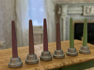 Antique Miniature Dollhouse 1:12 Collection Carved Wood Candles Germany 1930s