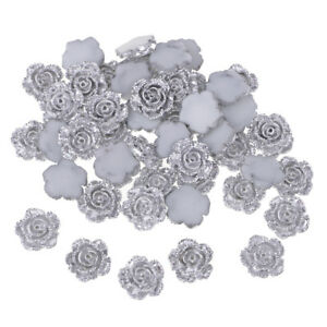 50 DIY Flatback Resin Flower Silver Cabochon Button Scrapbooking Slime Charm