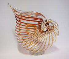 Art Glass conch shaped Vase home decor Brown with Clear Brand New Large28cm*27cm