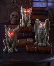 3 PC LIGHTED EYES REALISTIC GARGOYLE SET OUTDOOR LAWN PORCH HALLOWEEN HOME DECOR