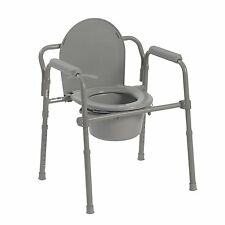 Bedside Commode BRAND Folding Bedside toilet seat Medical Chair Bathroom grey