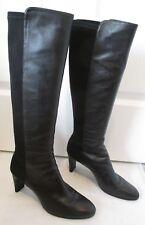 "STUART WEITZMAN Black Nappa Leather & Microfiber ""Halfhi"" Knee HIgh Boot - 7"