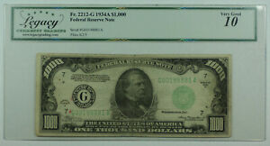 1934-A $1000 One Thousand Dollar Bill FRN Fr. 2212-G Legacy VG-10 (DW)
