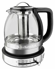KitchenAid KEK1322SS 1.5L 1.5 Liter Electric Glass Tea Kettle - Stainless Steel