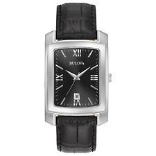 Bulova Classic Men's Quartz Black Dial Black Leather Strap 47mm Watch 96B269