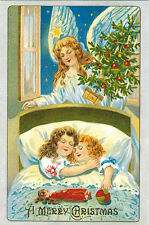 Repro of old postcard SLEPING CHILDREN AND ANGEL ABOVE THEIR BED Modern Russian