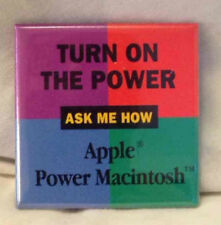 Apple Power Macintosh Pin Vtg 90s Mac Button Badge Turn On The Power Promo Lapel