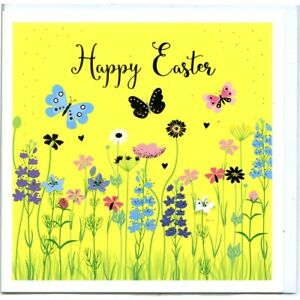 Spring Butterfly Garden Happy Easter Card – Beautiful Illustrated Artwork