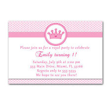 30 Princess Invitation Cards Pink Polka Dots Invites Girl Birthday Party A1