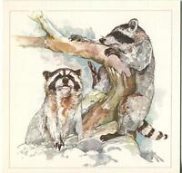 VINTAGE RACCOONS ANIMALS PLAYING TREE BRANCHES ROCKS PAPER ART NOTE CARD PRINT