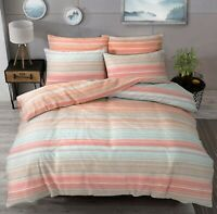 Duvet Cover Set - King Size Bedset Cotton Polyester Peach Stripes Bedding Set
