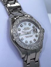 Rolex Masterpiece Pearlmaster 80319 18K W Gold Diamond Bezel MOP Dial Box/papers