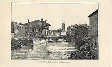 Stampa antica PADOVA veduta con Bacchiglione e l'Osservatorio 1892 Old print
