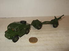 Vintage Dinky 688 Field Artillery Tractor with Trailer & No 686, 25 Pounder Gun