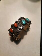 Signed David Tune Navajo coral , turquoise & sterling cuff