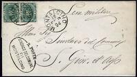 1894 - Lettera da Montalcino resa franca con Stemma 2 valori da cent.5 (n.59)