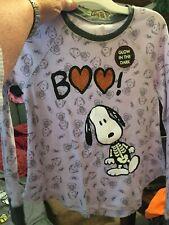 Peanuts Snoopy Glow In The Dark Thermal Halloween Shirt Small 6/6X Boo! New!