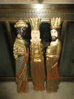 "Mid Century Carved Wood Three Wise Men with Gold Gilt - Large 28-1/2"" Tall"