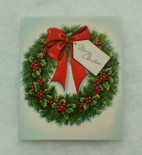 Vintage Christmas Card - Green Wreath, Holly, Berries, Red Ribbon - Diamond Line