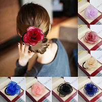 Elegant Women Solid Satin Ribbon Rose Flower Hairband Ponytail Holder Hair Band