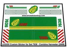 Replica Pre-Cut Sticker for Lego® City Farm set 7636 - Combine Harvester (2009)