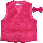New Boy's Kid's formal Tuxedo Vest Waistcoat  bowtie hot pink US size 2-14