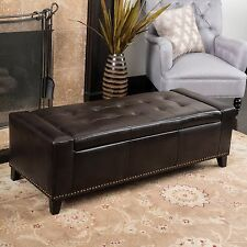 Contemporary Studded Brown Leather Storage Ottoman Bench