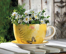 """YELLOW Flower 10"""" big TEACUP saucer English tea party garden Planter ceramic pot"""