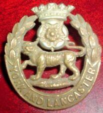CAP BADGES-ORIGINAL BOER WAR YORK AND LANCASTER REGIMENT ON LUGS