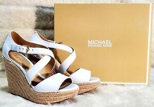 Michael Kors Abbott Wedge 6.5 36.5 White Leather Shoe