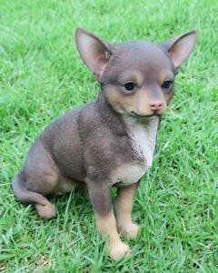 CHIHUAHUA STATUE PUPPY DOG CHOCOLATE BROWN ANIMAL GARDEN MEMORIAL ORNAMENT