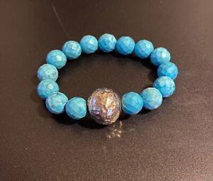 Simon Sebbag Matte Turquoise Stretch Bracelet Hammered Silver 925