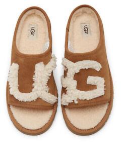 WOMEN's UGG 1019730HBX SLIDE Chestnut SHEEPSKIN SUEDE SLIPPERS Lamb Fur Sz 8
