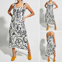 Womens Floral Strappy Midi Dresses Ladies Summer Beach Party Sun Dress Plus Size
