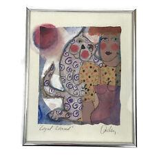 1990s Kathy Donahey Loyal Leonard Original Mixed Media Cat Painting Signed Art