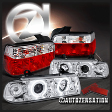 92-98 BMW E36 3-Series 4Dr Chrome Halo Projector Headlights+Red/Clear Tail Lamps