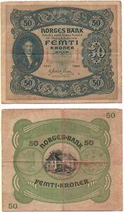 NORWAY 50 Kroner (1944) Pick 9d, Very Good to Fine *XRARE*